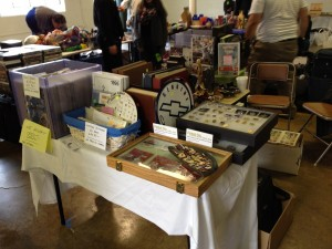 Part of our setup at the March 2014 Gaithersburg Indoor Flea Market